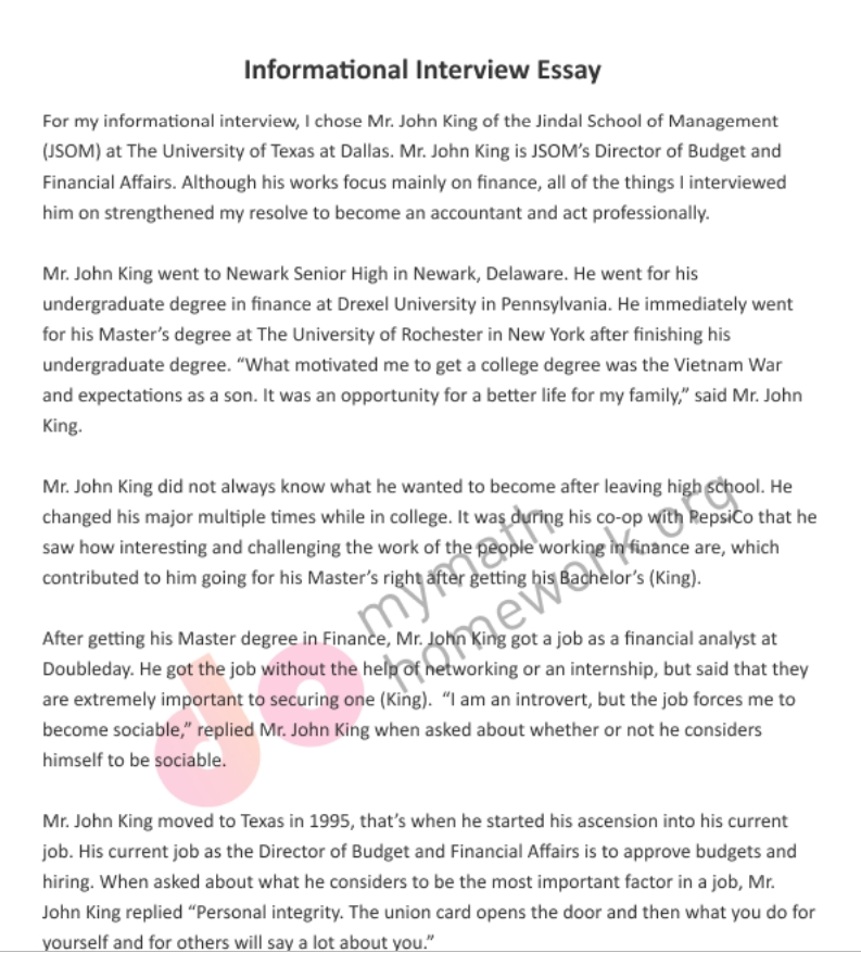 Interview essay examples free