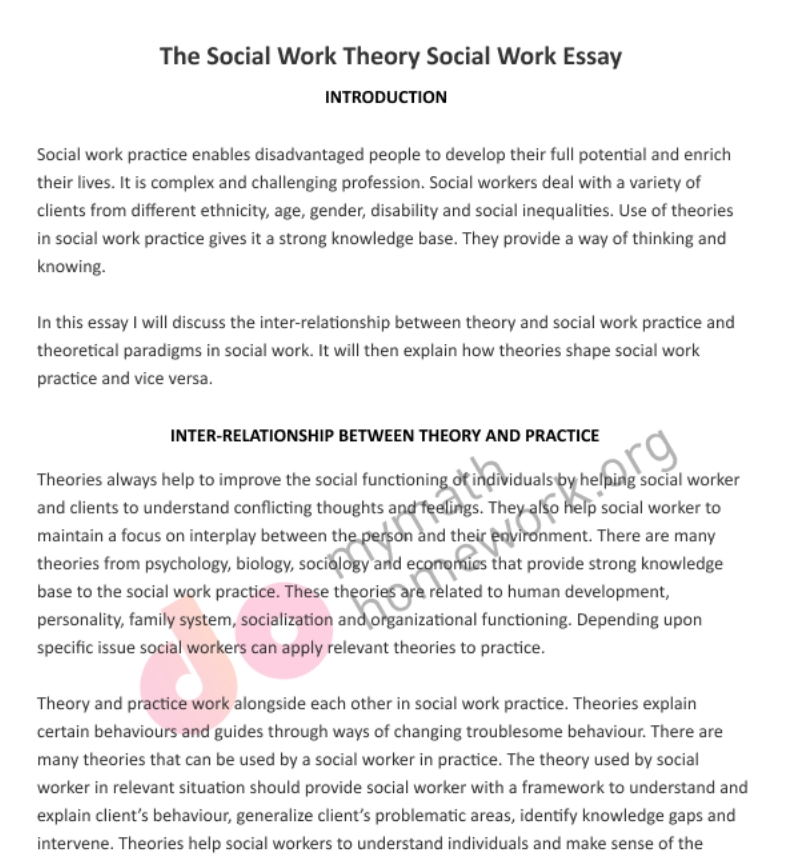 Social work essays example
